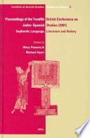 libro Proceedings Of The Twelfth British Conference On Judeo Spanishstudies, 24 26 June, 2001