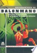 libro Entrenamiento En Balonmano. Bases De La Construcción De Un Proyecto De Formación Defensiva