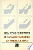libro El Análisis Filosófico En América Latina